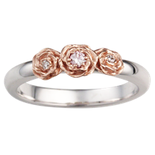 Rose Trio Wedding Band with Diamonds - top view