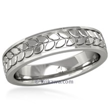 Modern Leaf Eternity Wedding Band