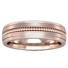 Modern Single Millegrain Wedding Band - top view
