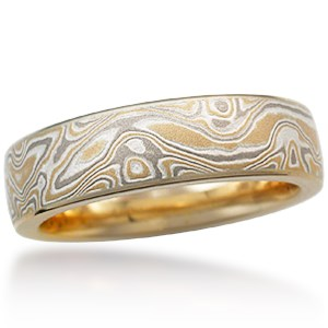 22k Summer Mokume Wedding Band