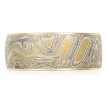 Summer Mokume Wedding Band - top view