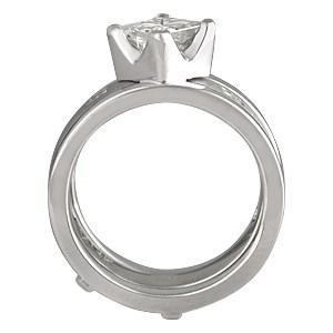 Modern Scaffolding Engagement Ring with Princess Cut Diamond and Plain Band with Princess Diamonds