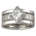 Modern Scaffolding Engagement Ring with Princess Cut Diamond and Plain Band with Princess Diamonds