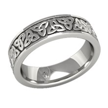 Mens Celtic Trinity Knot Wedding Band - top view