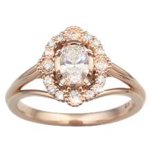 Vintage Scalloped Halo Engagement Ring - top view