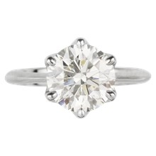 Simple Basket Solitaire Engagement Ring - top view