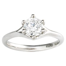 Simple Six Prong Solitaire Engagement Ring - top view