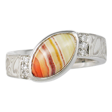 Agate Mokume Engagement Ring - top view