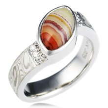 Agate Mokume Engagement Ring
