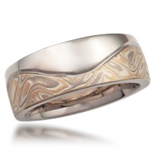 Mokume Wave Wedding Band