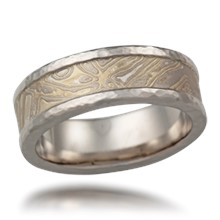 Mokume Wedding Band with Hammered Rails