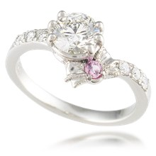 Pave Bow Engagement Ring