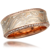Diamond Accented Mokume Band