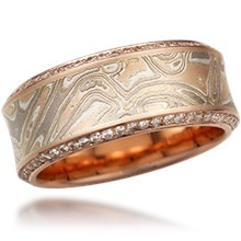 Paved Mokume Wedding Band