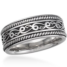 Vine and Leaf Eternity Wedding Band with Ropes