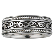 Vine and Leaf Eternity Wedding Band with Ropes - top view