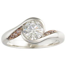 Carved Wave Light Engagement Ring with Diamonds - top view