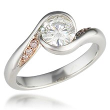 Carved Wave Light Engagement Ring with Diamonds