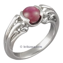 Carved Curls Engagement Ring with a Star Ruby Cabochon