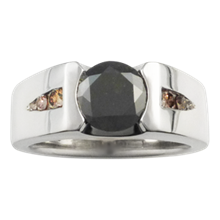 Modern Flush Stone Engagement Ring with Diamonds - top view