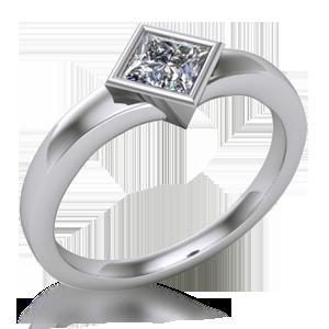 Solitaire Engagement Ring Princess Cut Bezel Flare