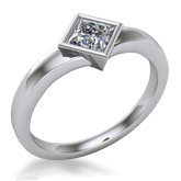 Solitaire Engagement Ring Princess Cut Bezel Flare