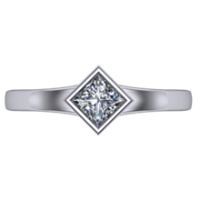 Solitaire Engagement Ring Princess Cut Bezel Flare - top view