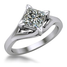 Solitaire Engagement Ring Princess Cut Split Cathedral