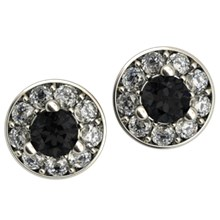 Black Diamond Halo Stud Earrings