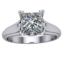 Princess Cut Diamond Leaf Solitaire Top View - top view