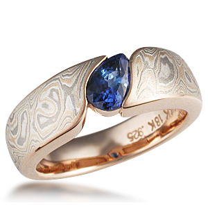 Mokume Wave Engagement Ring With Blue Pear Shaped Sapphire