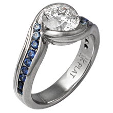 Carved Wave Engagement Ring with Blue Sapphires