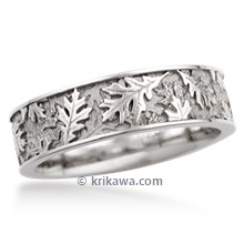 Oak Leaf Eternity Wedding Band