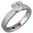 Platinum Mokume Solitaire Tapered Engagement Ring with Birthstones