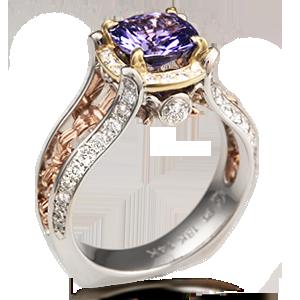 vintage fleur de lis engagement ring