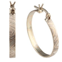 Mokume Hoop Earrings