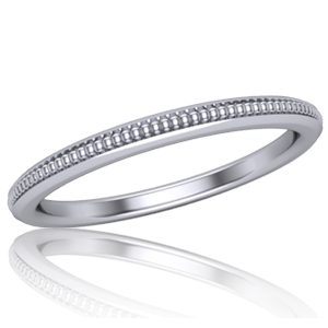 Narrow Single Milgrained Wedding Band