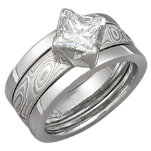 Modern Scaffolding Engagement Ring with Princess-Cut Diamond and Etched Platinum Mokume Band