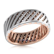 Lattice Work Two-tone Unique Men's Wedding Band in Rose Gold and Platinum
