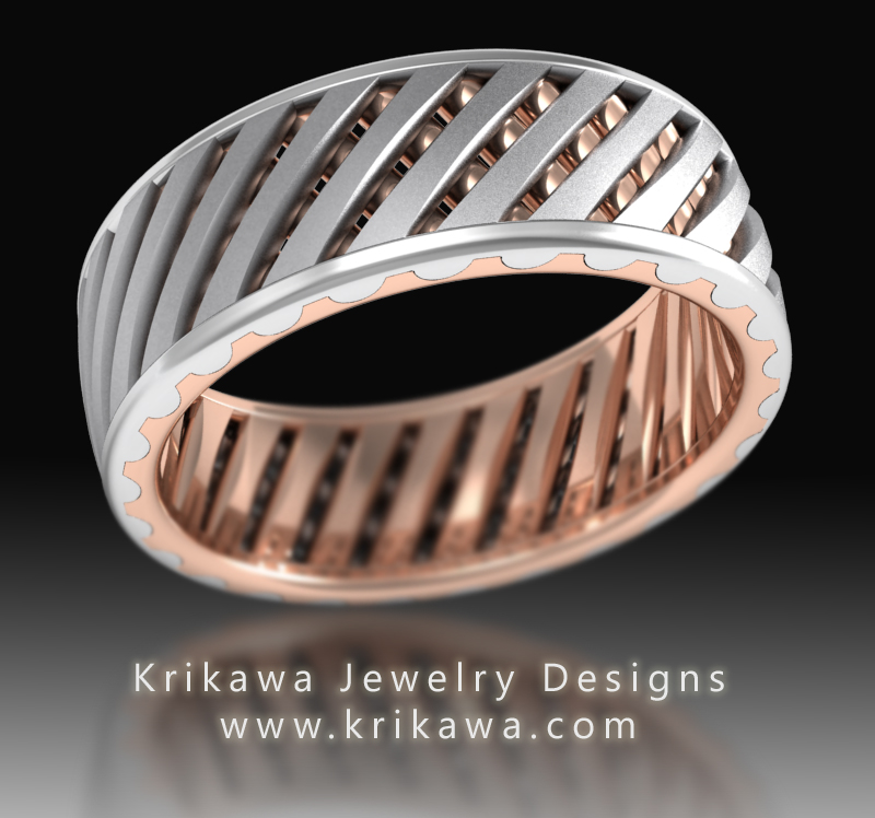 Lattice Work Two Tone Unique Men S Wedding Band In Rose Gold And Platinum