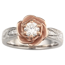 Mokume Rose Blossom Engagement Ring - top view
