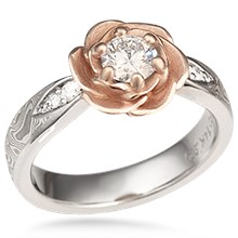 Mokume Rose Blossom Engagement Ring