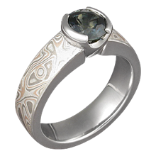 Mokume Solitaire Straight with Tapered Head Engagement Ring with Green Sapphire