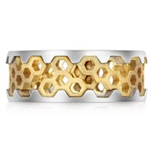 Hex Wedding Band - top view