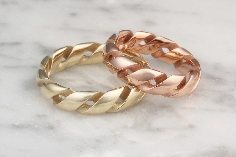 Mobius Strip Wedding Bands In Yellow And Rose Gold