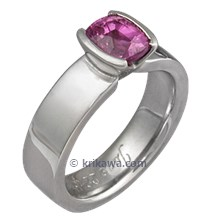 Modern Straight Tapered Head Engagement Ring with Pink Sapphire