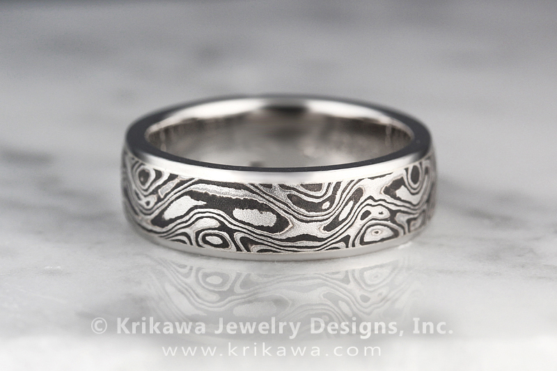 Black And White Mokume Wedding Band