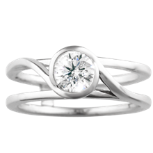 Swirl Scaffolding Engagement Ring - top view