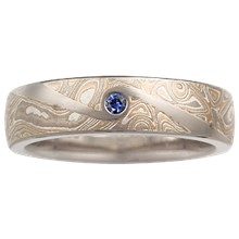 Mokume Wedding Band with Flush Swirl - top view