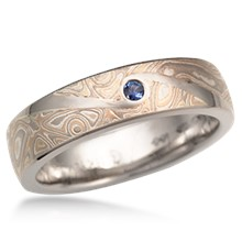 Mokume Wedding Band with Flush Swirl